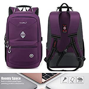 CoolBELL 18.4 Inch Backpack Laptop Bag Travel Rucksack Water-resistant Hiking Knapsack Protective Day Pack Fits 15 - 18.4 Inch Laptop For Dell / HP / Lenovo / Macbook / Acer / Women (Purple)