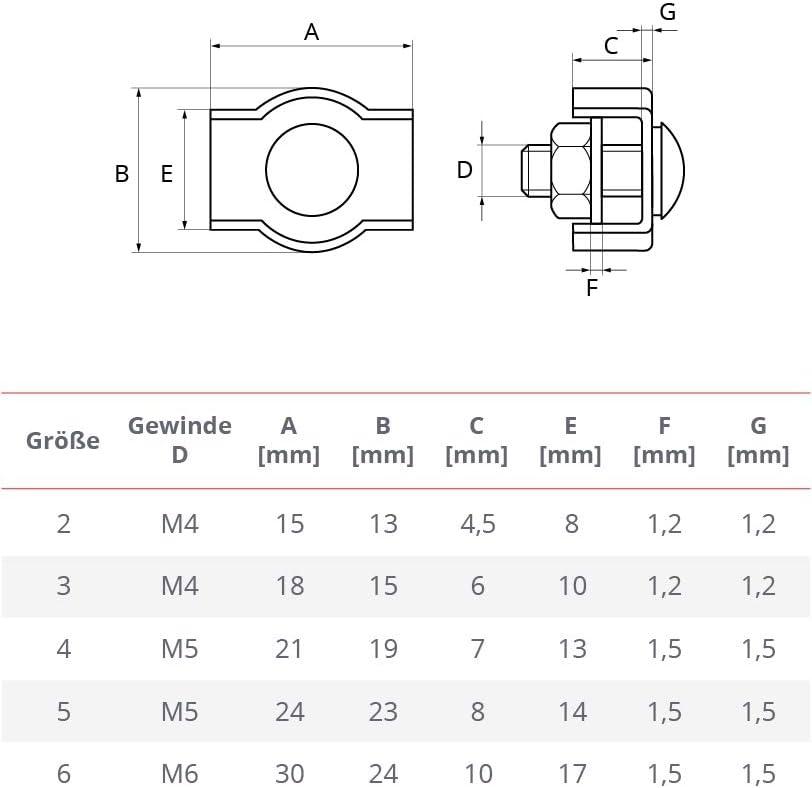 werk STANKE 100x Serre-c/âble de Selle Simple Inoxydable Inox 3mm Serre-c/âble pour les Cordes
