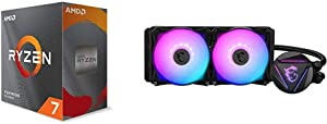 AMD Ryzen 7 3800XT 8-core, 16-Threads Unlocked Desktop Processor Without Cooler + MSI MAG CORELIQUID 240R - AIO RGB CPU Liquid Cooler - Rotating Cap Design - 240mm Radiator - Dual 120mm RGB PWM Fans