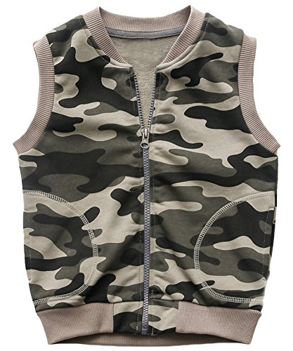 Cotton Zip Vest - KISBINI Boy's Cotton Camouflage Zip Vests Sports Outfits for Children K-Gray 5T