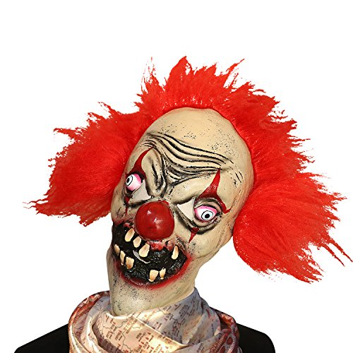 [XIAO MO GU Latex Scary Devil Clown Mask For Halloween Party Cosplay Costumes Face Mask Adult] (Couples Scary Costumes)
