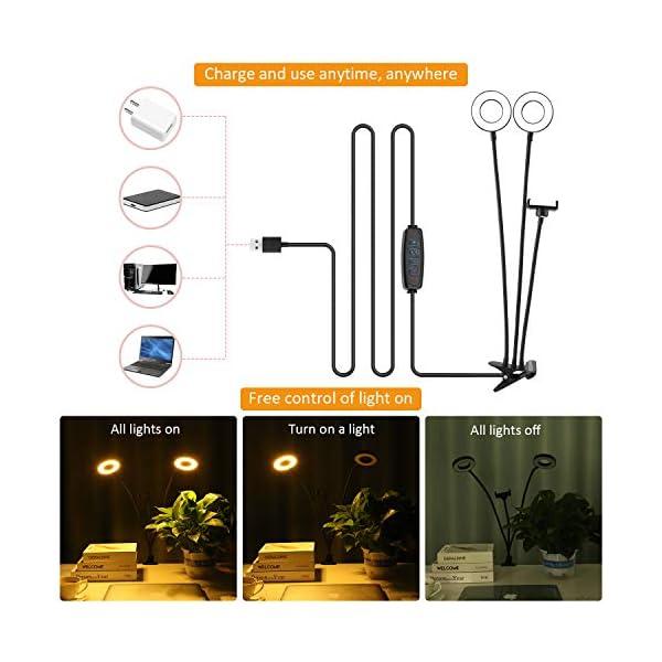 Compra aro de luz con dos brazos y dos focos con soporte para móvil. Ideal para videos de tiktok, tutoriales de maquillaje y recetas de cocina. Youtube.