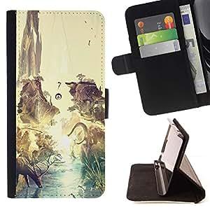 Momo Phone Case / Flip Funda de Cuero Case Cover - Dinosaurio surrealista Venado Tierra;;;;;;;; - Huawei Ascend P8 Lite (Not for Normal P8)