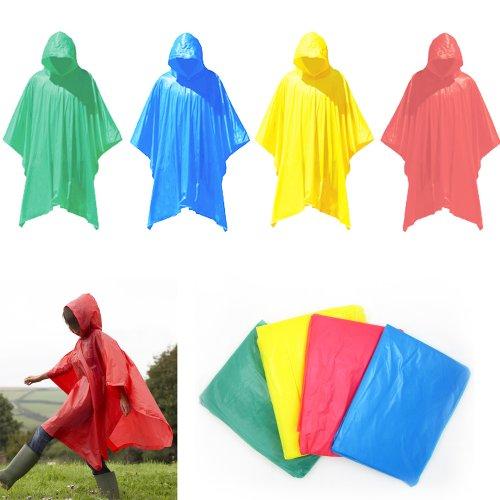 2 Emergency Rain Poncho Reusable Rain Hooded Rain Coat Outdoor One Size Fits All