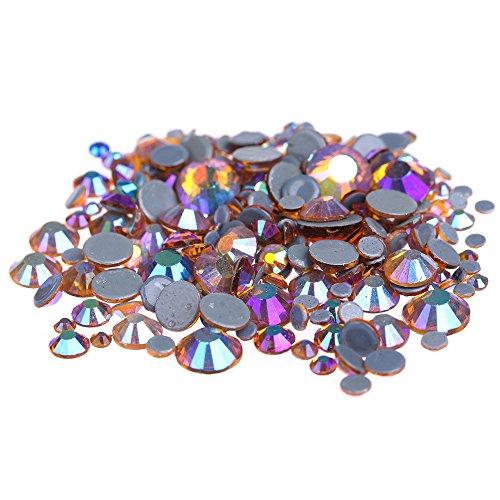 Nizi Nail Rhinestones TOPAZ AB Mixed Sizes of 400pcs Nail Art Strass Shiny Stone Diy Craft Tiny Rhinestone Perfect for Nail art (Glass Topaz Cut)