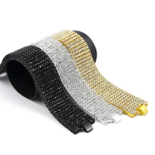 MCSAYS Fashion Hip Hop 8 ROW Rhinestone CZ Crystal Tennis Chain Men's Bling Bling Bracelet Iced out by MCSAYS
