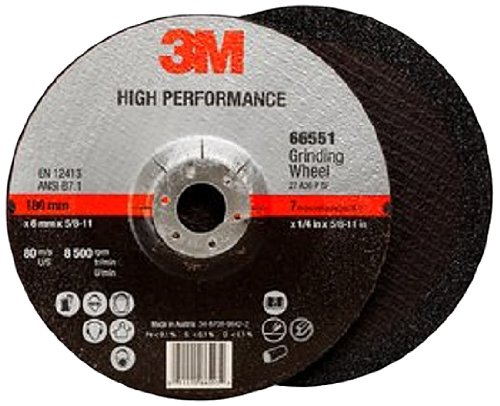 3M High Performance Depressed Center Grinding Wheel T27 Quick Change 66551, Ceramic, 7'' Diameter, 1/4'' Thick, 5/8''-11 Arbor, 36+ Grit, 8500 rpm (Case of 10) by 3M