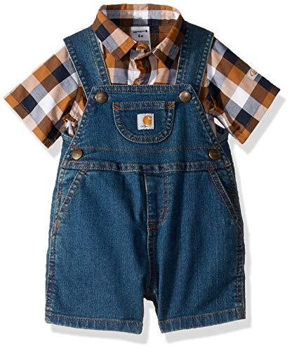 (Carhartt Baby Boys 2-Piece Shortall Clothing Set, Medium Wash/Brown Blue Plaid,)