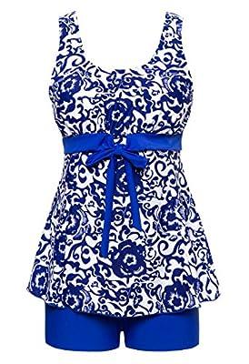 Wantdo Women's Plus Size Two-Piece Push Up Swimsuit Swimwear Vintage Sailor Tankini
