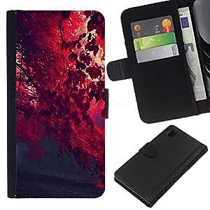 JackGot ( Red Leaf Forrest ) Sony Xperia Z1 L39 la tarjeta de Crédito Slots PU Funda de cuero Monedero caso cubierta de piel