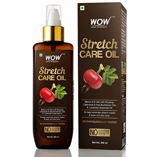 WOW Skin Science Stretch Care Oil to Minimize Stretch Marks and Even Out Skin Tone – Blend of 6 Oils with Rosehip…