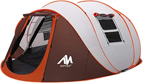Tent 4 6 PersonMan, Camping Instant Pop Up Tents [5 Window] Waterproof Double Layer 4 Season Tents Big Family Shelter for Backpacking Beach Picnic