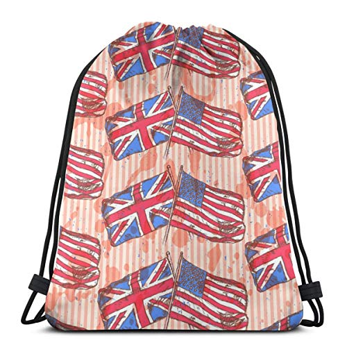 UK USA Flags Vintage Drawstring Bag Backpack Travel Gymsack Drawstring Backpack Sackpack]()