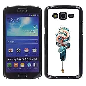 """For Samsung Galaxy Grand 2 II Case , Serpiente Dragón Teal blanco Suerte china"""" - Diseño Patrón Teléfono Caso Cubierta Case Bumper Duro Protección Case Cover Funda"""