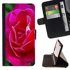 Devil Case- Estilo PU billetera de cuero del soporte del tir¨®n [solapa de cierre] Cubierta FOR Samsung Galaxy G360 G3608 G3606- Rose Pink Flower Romantic Love Heart