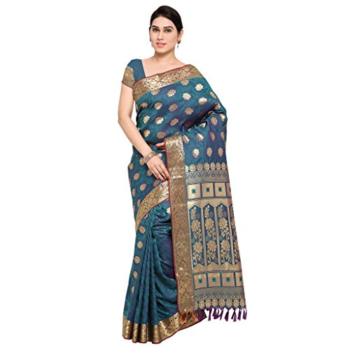 Varkala Silk Sarees Women's Art Silk Kanchipuram Saree With Blouse Piece_(AWSS3113RMV_Teal & Blue) by Varkala Silk Sarees