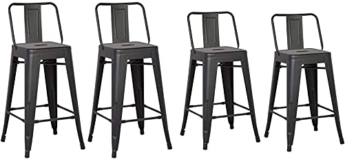AC Pacific Modern Light Weight Industrial Metal Bucket Back Barstool