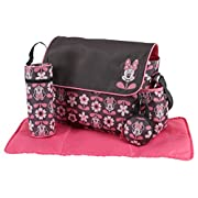 Disney Minnie Mouse Multi Piece Diaper Bag with Flap, Floral Print, Gray/Pink