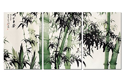 Spirit Up Art Large Chinese Painting of Bamboo on Canvas Print Stretched and Framed,Ready to Hang, Modern Home Decorations Wall Art set of 3 Each is 4060cm #D09-317