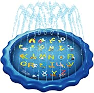 """RQN 68"""" Sprinkler for Kids,Sprinkler Pool for Toddlers and Kids Aged Under 12,Portable Water Toys with A to Z"""