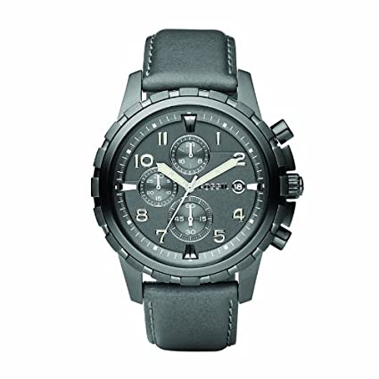 Amazon.com: Fossil Mens FS4544 Grey Leather Strap Grey Analog Dial Chronograph Watch: Fossil: Watches