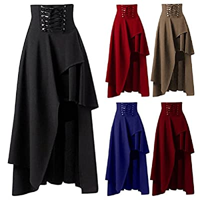 IWEMEK Women's Victorian Steampunk Asymmetrical High Waist Ruffle Hem Gothic Lolita Band Retro Long Cocktail Maxi Skirt
