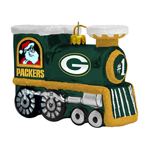 Packers Bay Green Ornaments - NFL Green Bay Packers Blown Glass Train Ornament