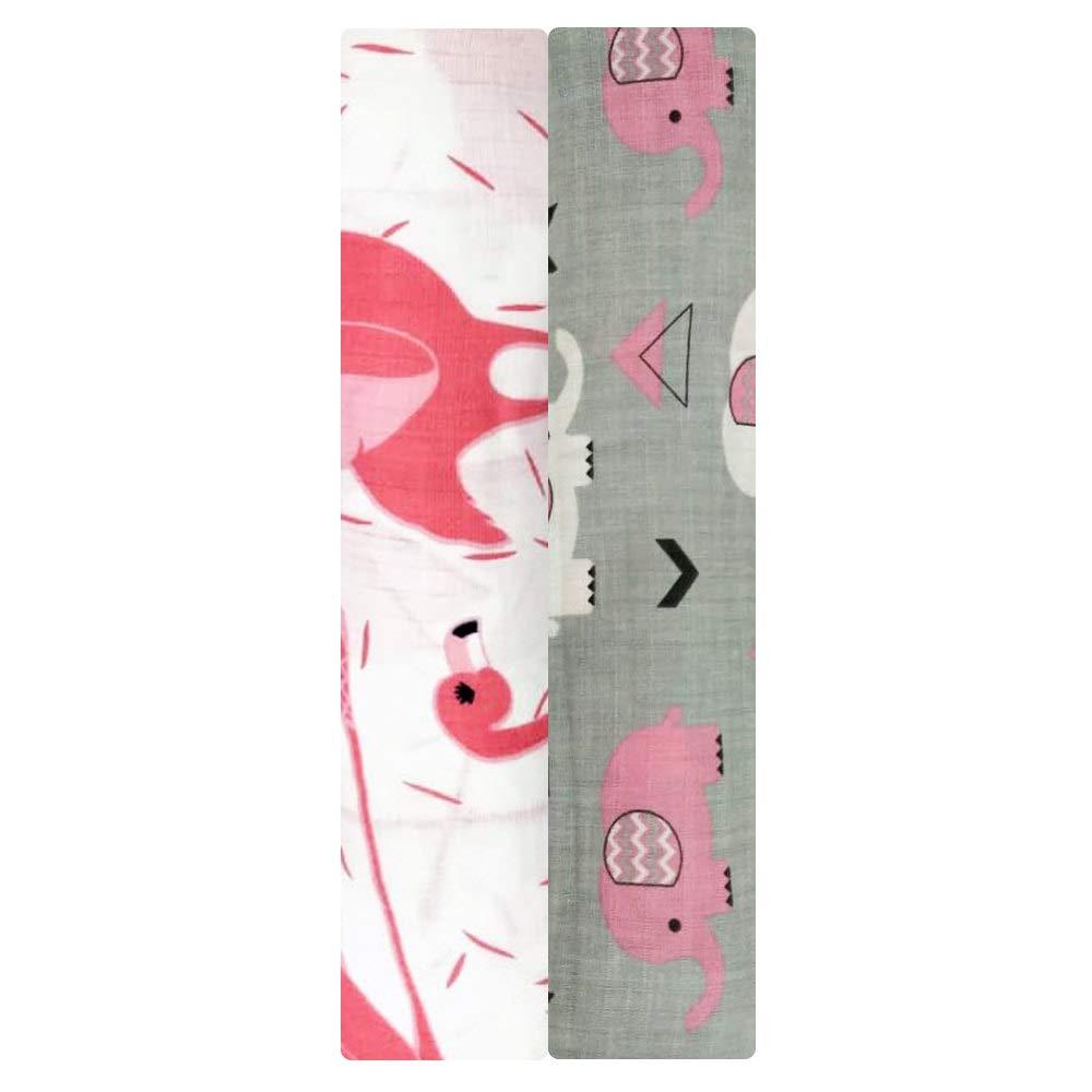 auroville. Muslin Swaddle Blankets - Soft Silky 100% Muslin Cotton Swaddle Blanket for Baby, Large 47 x 47 inches, Set of 2- Flemingo & Elephant Print in Pink & Grey Pattern