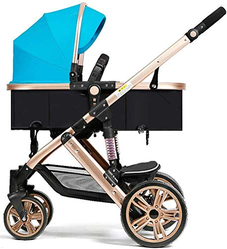 Laz Pram Folding Baby Stroller, with 5 Point Safety System, Toddler Pram from Birth to 36 Months (Color : Blue)