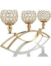 VINCIGANT Gold Candle Holder Decor for Wedding Centerpiece, 3 Arms Crystal Candelabras Decoration Candlestick Holders for Dining Table Accent (Gift Package)