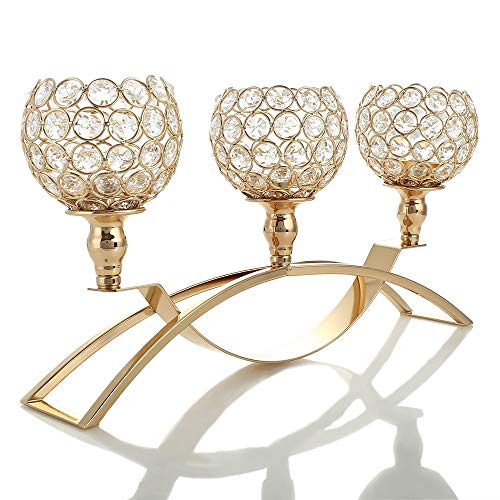 VINCIGANT Gold Crystal Candle Holders / 3-Candle Candelabras,Coffee Table Decorative Centerpieces for Living Room/Dinning Room Table Decoration,Mothers Day Wedding Gifts