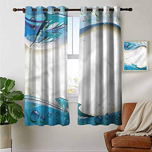 petpany Blackout Curtains Ocean,Dolphins Sea Waves Drops,Insulating Room Darkening Blackout Drapes for Bedroom 42