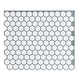 """White Anti-Mold Peel and Stick Tile Backsplash - Little Hexagon Tile for Kitchen & Bathroom 9""""x10.6"""" Pack of 5"""