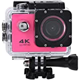 Acouto 2 Inch 4K 12MP Wifi sport Action Camera Uitra HD Waterproof DV Camcorder 140 Degree Wide Angle with Controller,Black/Yellow/Blue/White/Pink/Gold/Silver (Pink)