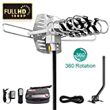 Outdoor Digital HD TV Antenna 150 Mile Range - OTA Amplified HDTV Antenna Support 4K 1080p UHF/VHF/FM for 2 TVs - Motorized 360 Degree Rotation with 32.8ft Coax Cable,Antenna Mast Pole