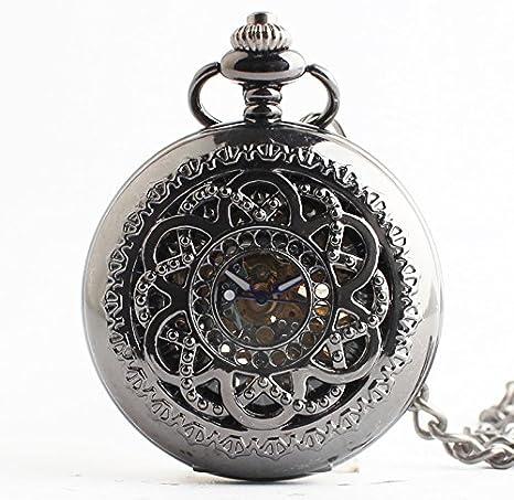 HBB reloj de bolsillo tallado acero de tungsteno viento chino / nostálgica / retro Roma flip apartado mecánico / larga de los hombres y las mujeres del reloj