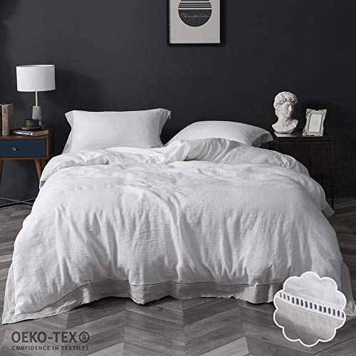 Simple&Opulence 100% Linen Stone Washed Hemstitch Bedding Set Include 1 Duvet Cover and 2 Pillowcases (King, Grey) (Rh Duvet Cover)