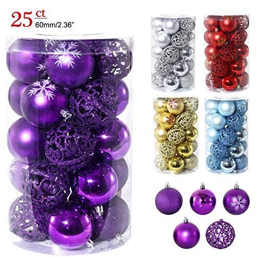 LancerPac Luxury Christmas Balls Ornaments Shatterproof 5 Finish-Shiny,Matte,Glitter,Matte Paint and Hollow,2.36,60 mm Purple