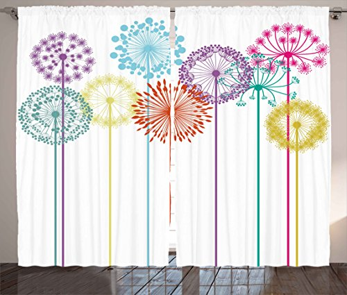 - Ambesonne Floral Decor Curtains, Flower Decorations Colorful Dandelions on White Background Illustration, Living Room Bedroom Window Drapes 2 Panel Set, 108W X 63L Inches, Multicolored