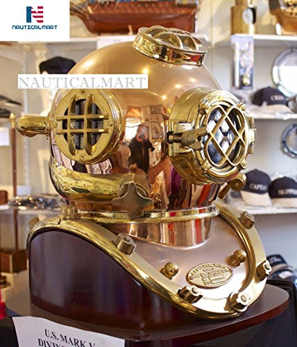 NauticalMart Antique Diving Divers Helmet Us Navy Mark V Helmet Solid Copper & Brass With Base