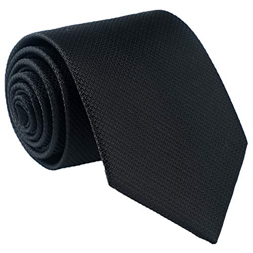 Fortunatever Mens Solid Neckties,Black Tie For Men With Gift Box,58