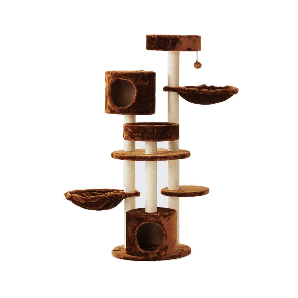 Brown YQQ Cat Tree Cat Climbing Frame Cat Nest Pet Toy Bite Resistance 50  50  140cm (color   BROWN)