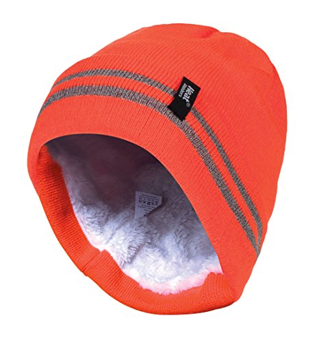 Knit Winter Hat Reversible - HEAT HOLDERS - Mens Hi Vis Thermal Insulated for Cold Winter Reversible Knit Cap 3.4 tog One Size (One Size, Orange)
