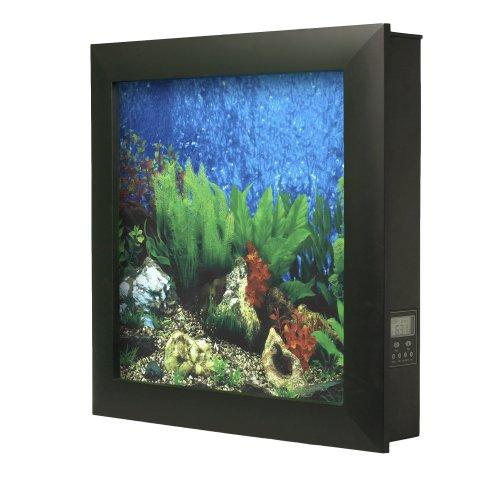 Aquavista 500 Wall Mounted Aquarium with Tropical Water Background, Black Frame by AquaVista