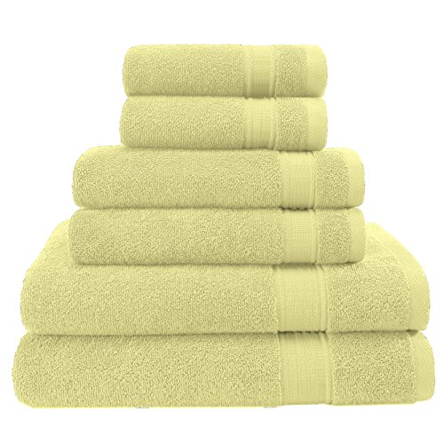 "2018 (New Collection) Hotel & Spa Soft Kitchen Bathroom Quality 2 Bath Towels 30x54"" - 2 Hand Towels 16x28"" - 2 Washcloths 13""x13"" - 100% Cotton 6 Piece Towel Set, Eco-Friendly, Light Yellow"