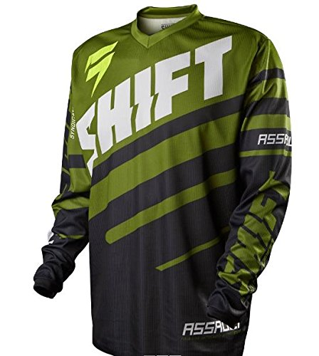 Shift Racing Assault Race Youth Boys Off-Road Motorcycle Jersey - Black/Green / Small