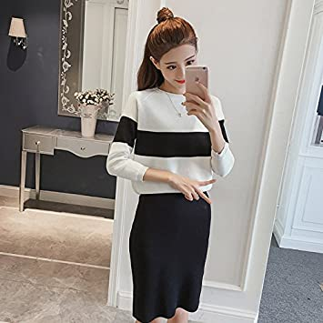 f781633a76d Amazon.com   2018 Autumn new Korean female striped suit long section fashion  style two-piece knit skirt suit for women girl   Beauty