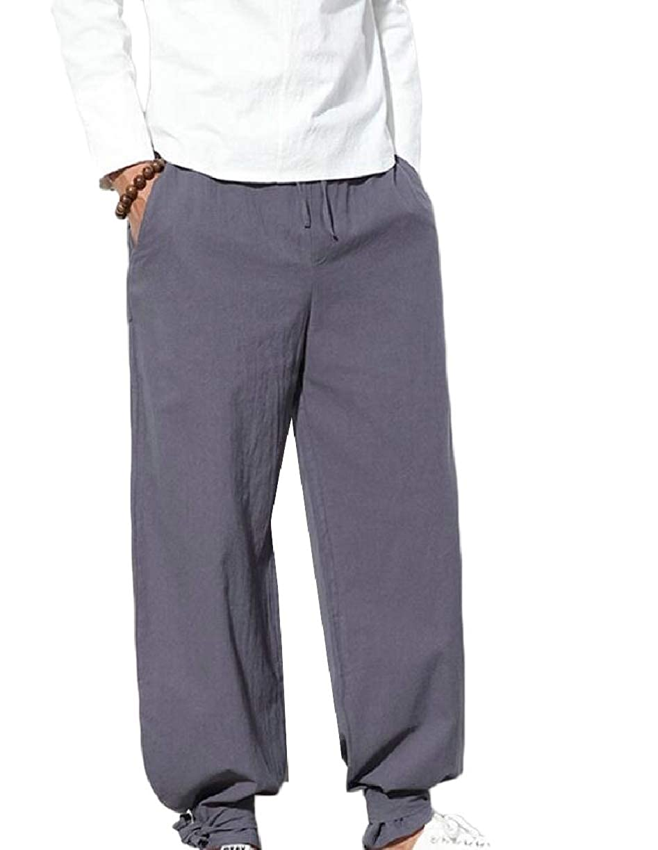 CBTLVSN Mens Linen Elastic Waistband Solid Color Chinese Style Loose Pants