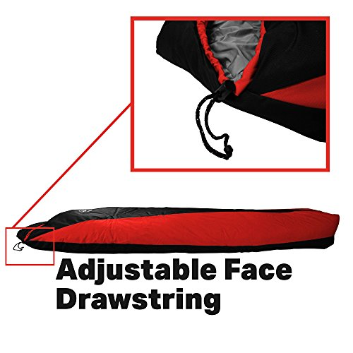 Outdoor Vitals OV-Light 20°F Ultralight Mummy Sleeping Bag for Backpacking, Lightweight and Compact for Hiking and Camping, Premium Down Like Insulation, (Red, Regular)