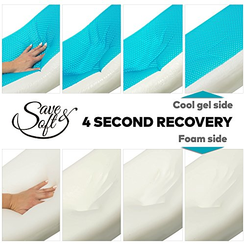 Memory Foam Pillow with Cooling Gel - Cold Pillows for Sleeping Prevent Neck Pain + Free Bamboo Washable Cover - for Back Stomach Side Sleepers Men Women Standard